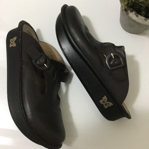 ALEGRIA PG LITE BROWN leather clogs/mules size 9